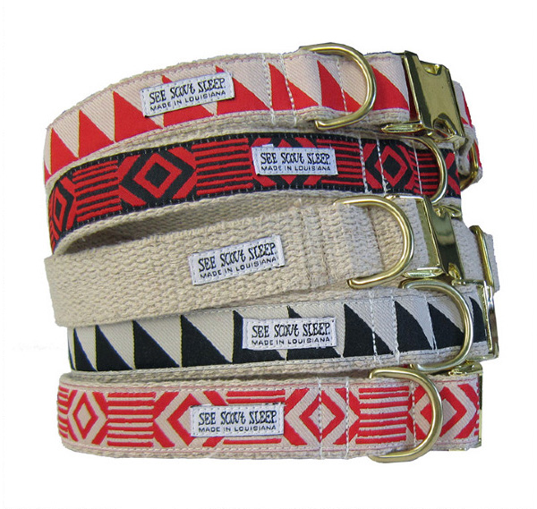 See Scout Sleep cool geometric patterned dog collars and leashes