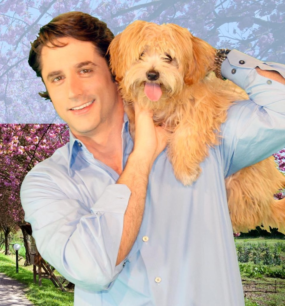 Prince Lorenzo with dog post card photo